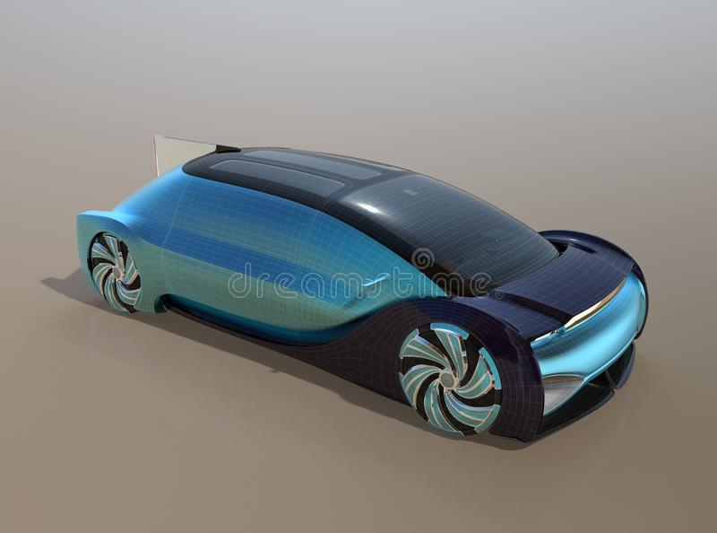 Self driving electric car with wireframe pattern on gradient background. 3D rendering image vector illustration