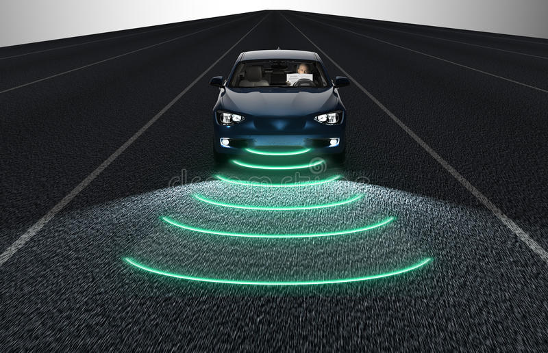 Self driving electronic computer car on road vector illustration