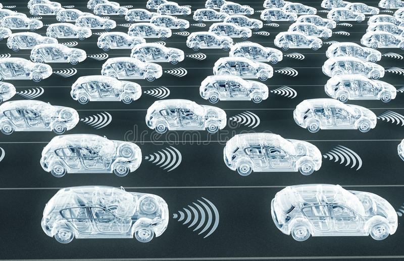self driving electronic computer cars on road royalty free illustration