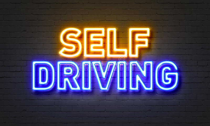 Self driving neon sign on brick wall background. vector illustration