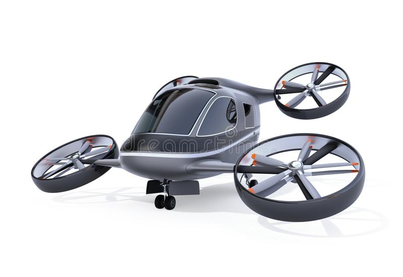 Self driving Passenger Drone isolated on white background. 3D rendering image royalty free illustration