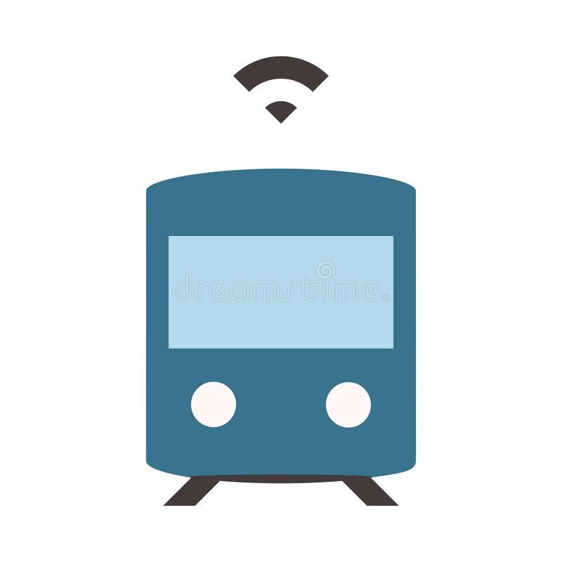 Self driving subway - Flat colored icon - Blue. Flat, colored and pixel perfect icon - Blue stock illustration