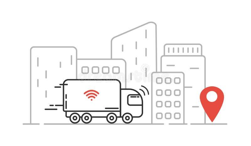 Self-driving truck - autonomous transport, cityscape, high skyscrapers. Vector line illustration royalty free illustration