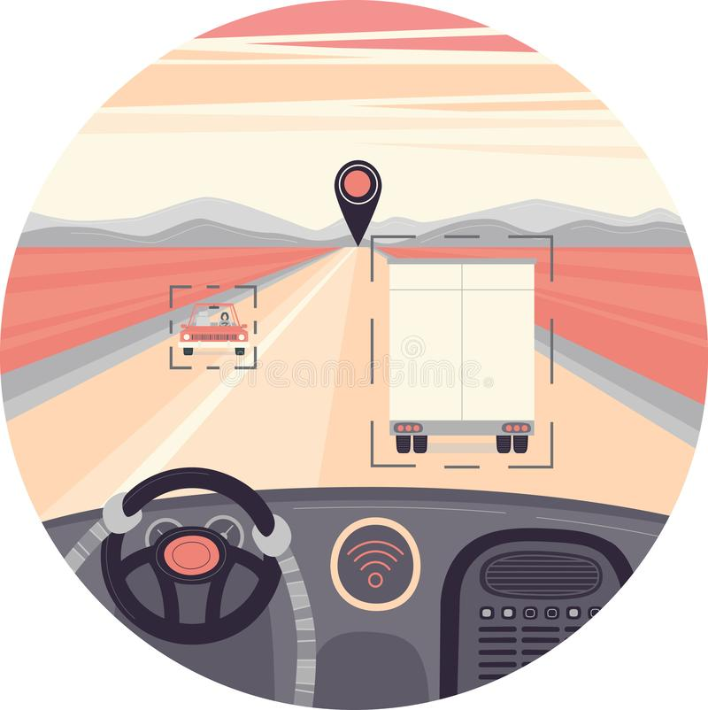 Self-driving truck in a circle. Drived by robot, vector illustration royalty free illustration