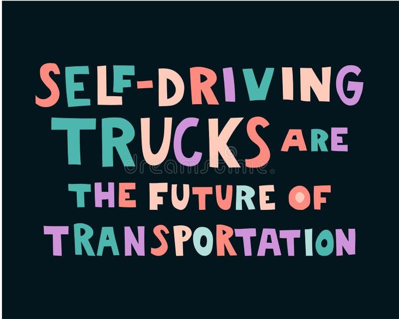 Self-driving trucks are the future of transportation vector illustration
