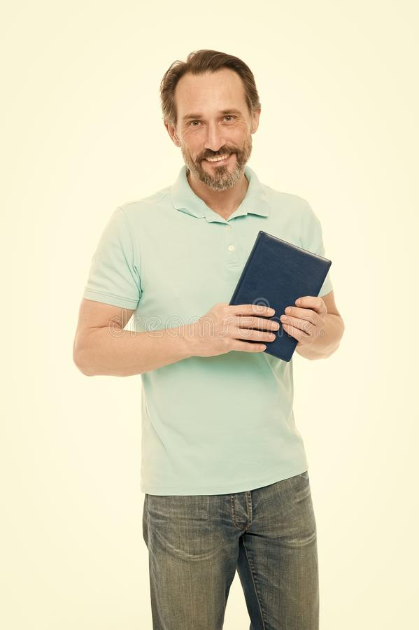 Self education. Home education and self improvement. Education for adult. Never too late to study. Man bearded hold book royalty free stock image