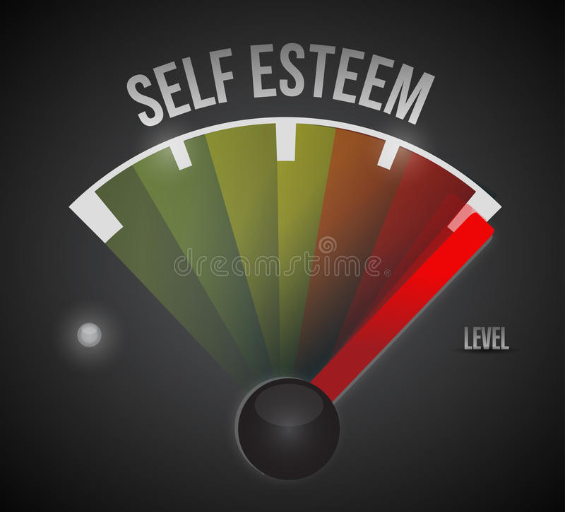 Self esteem level measure meter from low to high royalty free illustration