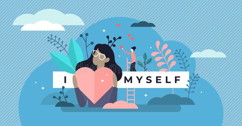 Self esteem vector illustration. Tiny personal confidence persons concept. stock image