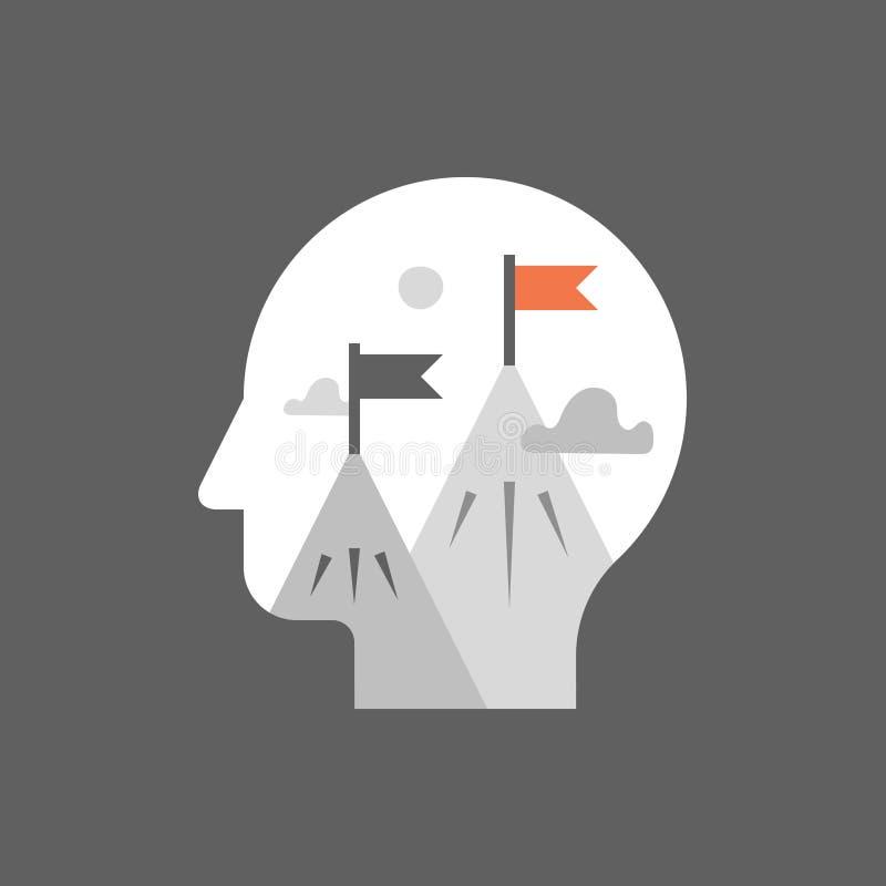 Self growth mindset, aspiration concept, work motivation, career opportunity, potential development, next level challenge. Aspiration concept, work motivation stock illustration