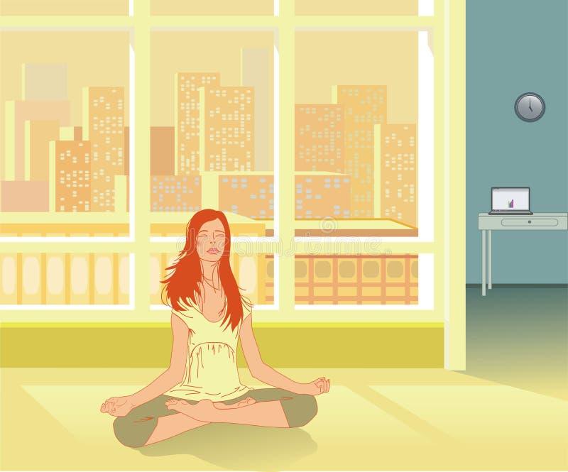 Self-healing praktijk en Reiki van de yoga royalty-vrije illustratie