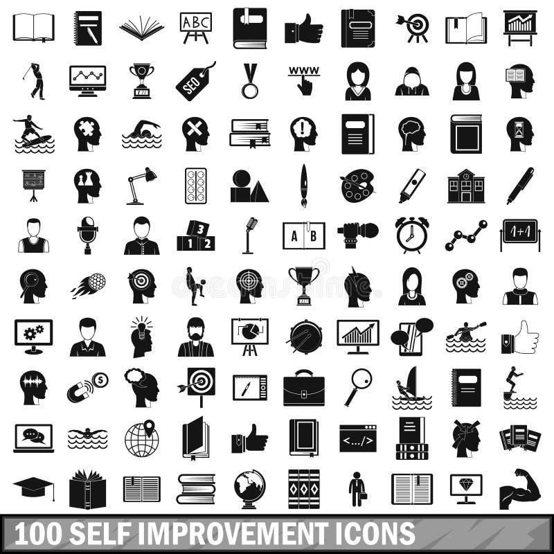 100 self improvement icons set, simple style royalty free illustration