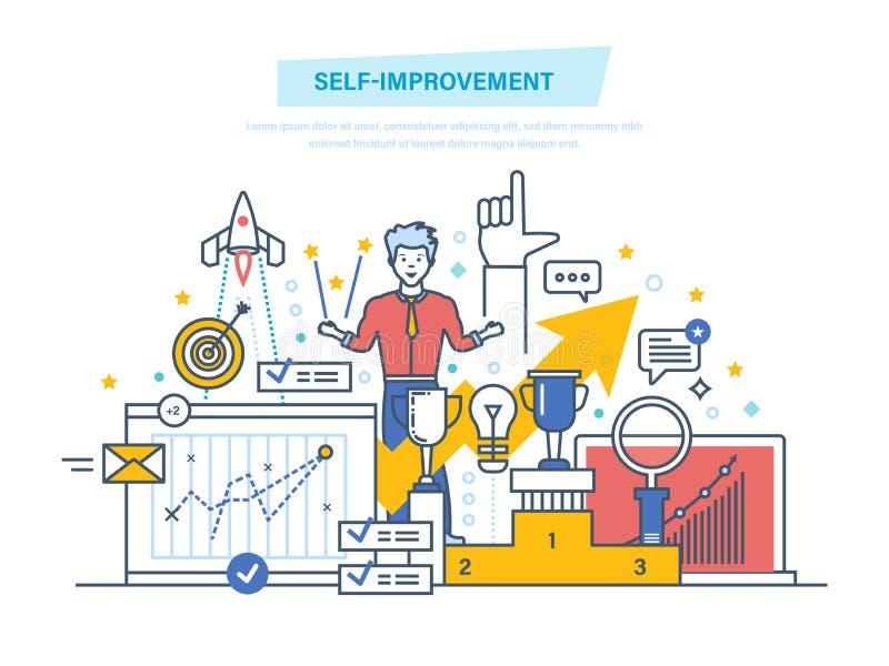 Self improvement. Self development. Personal qualities growth, emotional intelligence. Leadership skills, successful person. Achievement of high goals stock illustration