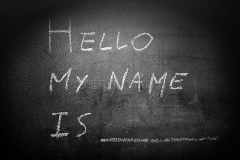 Self Introduction - Hello, My name is ... written on a blackboard royalty free stock images