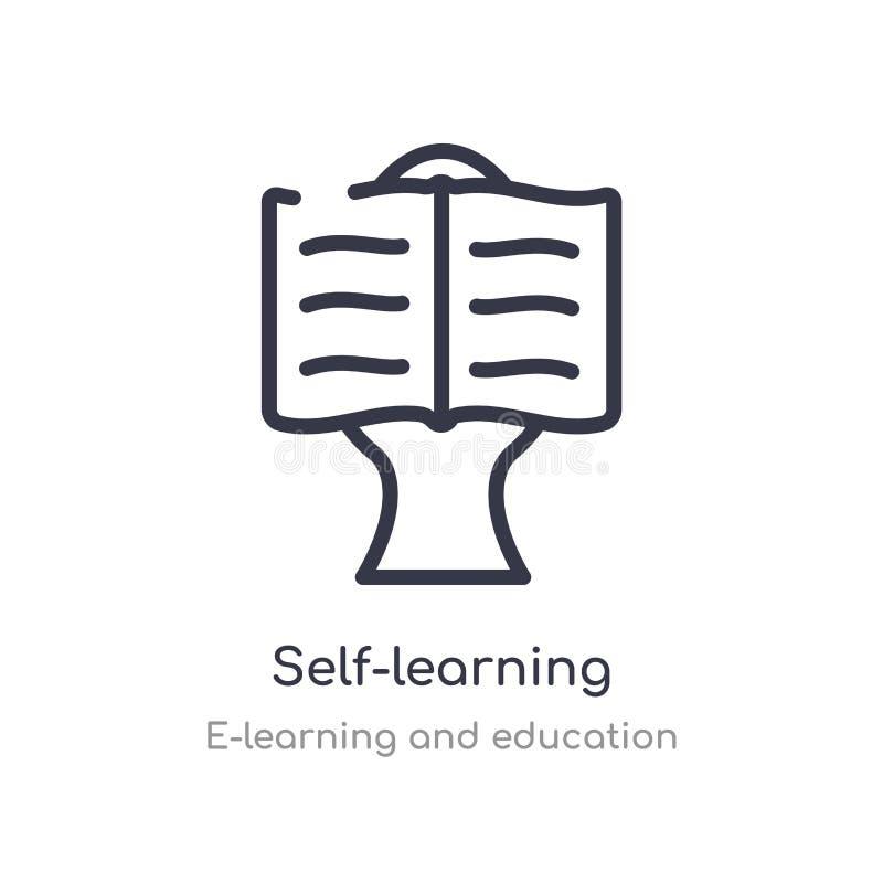 self-learning overzichtspictogram ge?soleerde lijn vectorillustratie van e-leert en onderwijsinzameling editable dunne slag zelf stock illustratie
