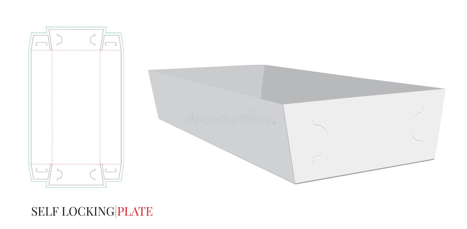 Self Lock Paper Plate Template. Cut and Fold. Vector with die cut / laser cut lines. Package Design. White, clear, blank, isolated stock illustration