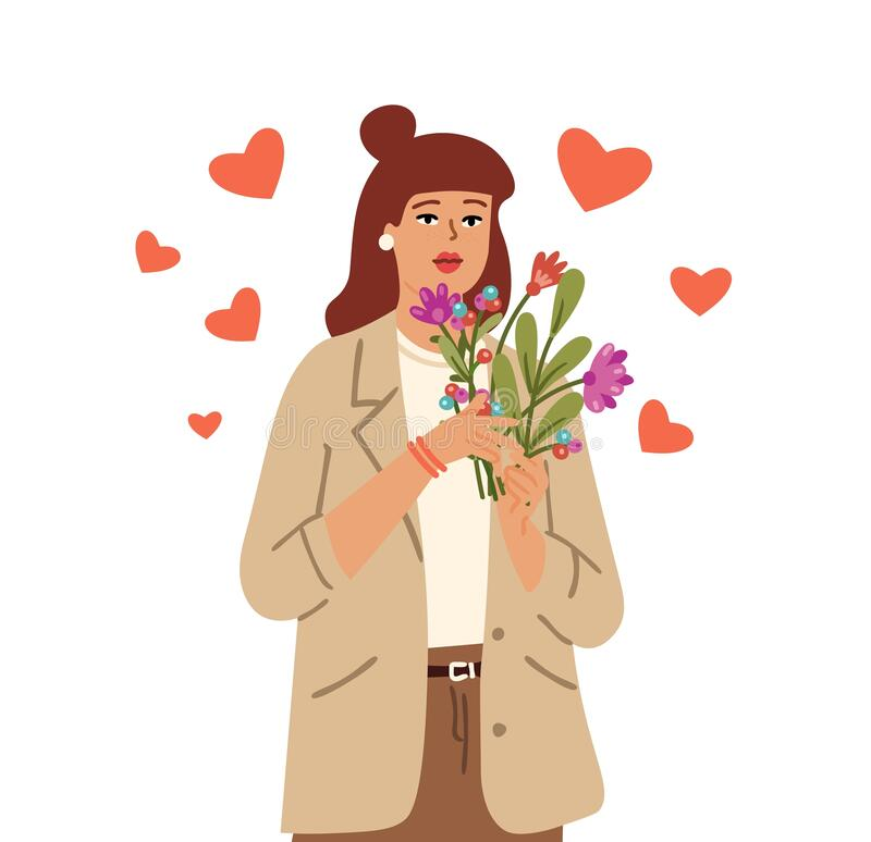 Free Self Love Concept. Love Yourself, Woman Hold Flowers. Season Bouquet, Girl With Flying Hearts. Isolated Cute Stylish Royalty Free Stock Photography - 217715087