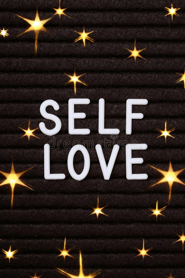 Free Self Love Words On Black Letter Board. Stock Images - 133514934