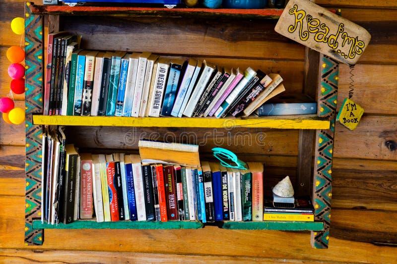 Self made bookshelf royalty free stock photo