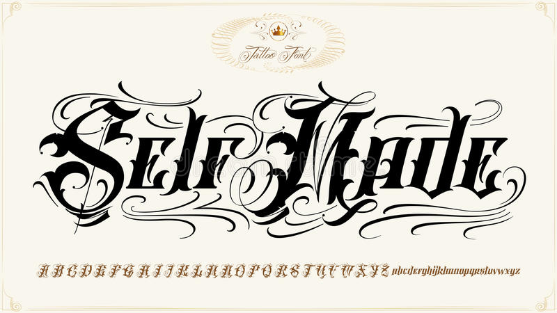 Download Self Made Tattoo Lettering Set Stock Vector