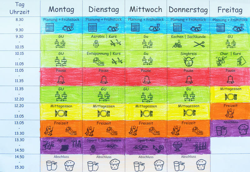 Self made timetable for school in German language royalty free stock image