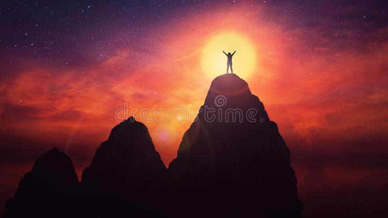 Overcome obstacle for success achieving stock photo