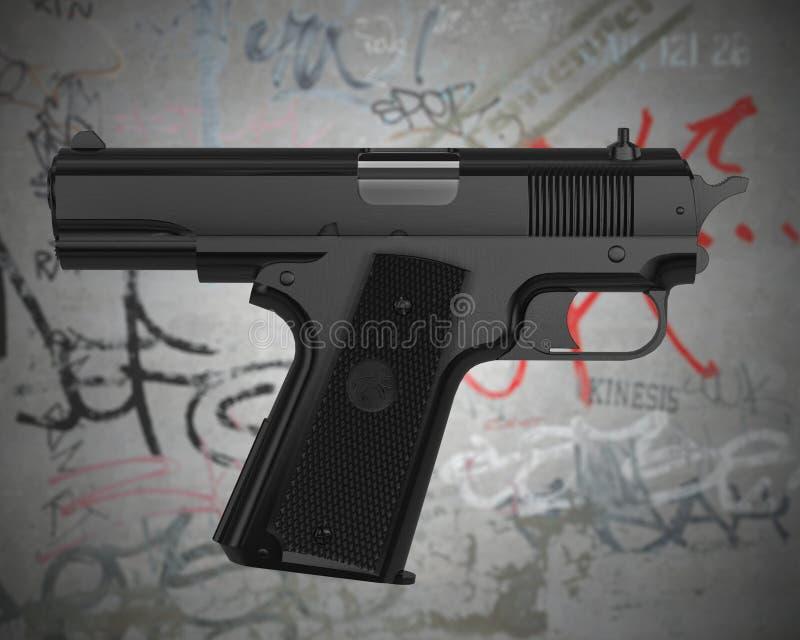 Download Self-pointing gun stock illustration. Image of grunge - 7741376