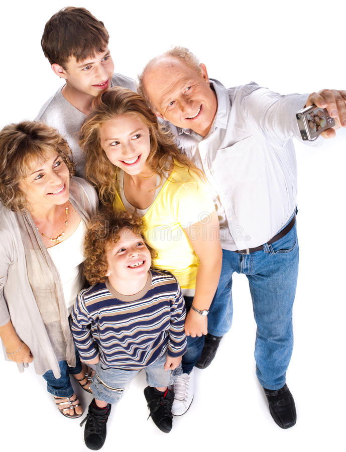Self portrait of happy family stock image