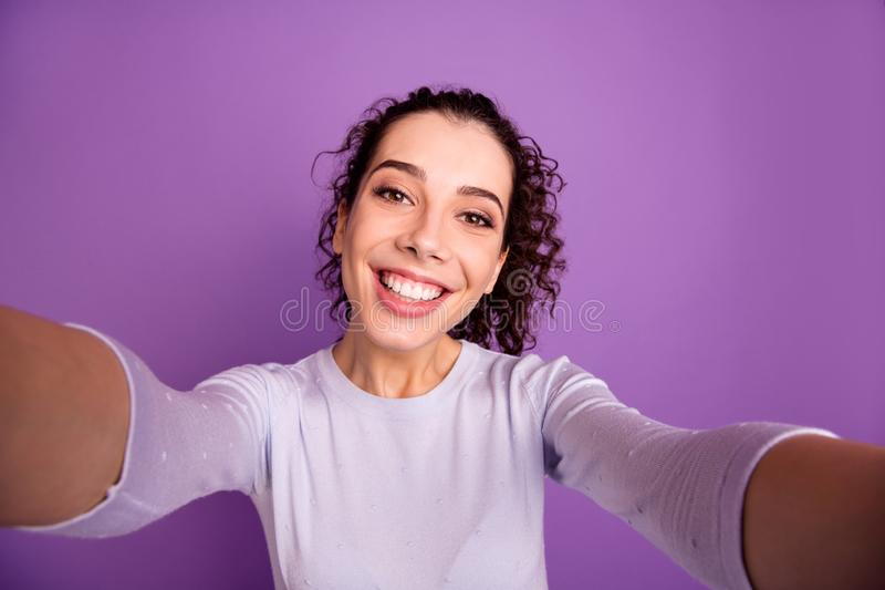 Self-portrait of her she nice attractive lovely pretty cute winsome cheerful cheery wavy-haired girl spending holiday. Self-portrait of her she nice attractive stock photo