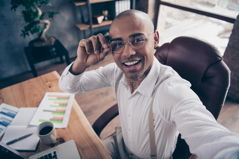 Self-portrait of his he nice attractive cheerful cheery confident guy marketer marketing executive manager director at royalty free stock photography