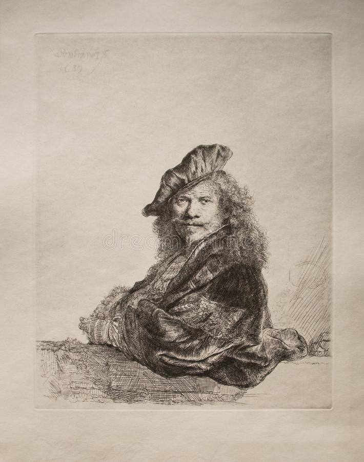 Self portrait by Rembrandt. Self portrait leaning on the Balustrade from 1639. This is an impression from a reproduction plate. An graphic artwork make by royalty free illustration