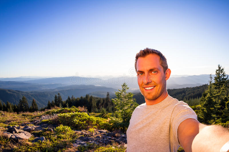 Self portrait from a mountain top royalty free stock photo