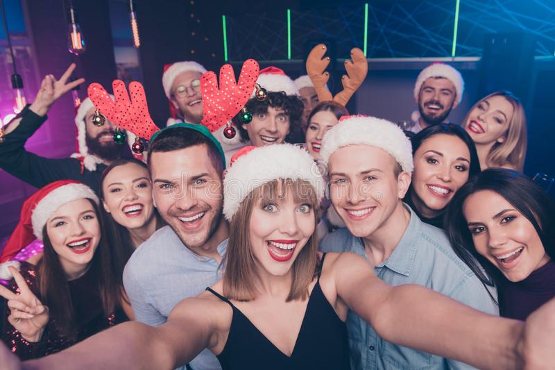Self-portrait of nice-looking attractive cheerful cheery positive excited glad ladies and guys having fun rest relax royalty free stock image