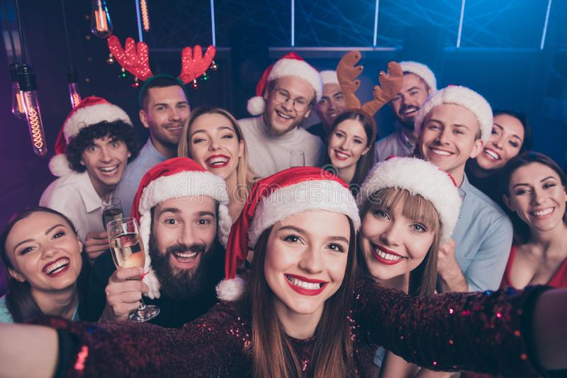 Self-portrait of nice-looking attractive lovely cheerful cheery positive glad funny ladies and guys having fun rest stock photos