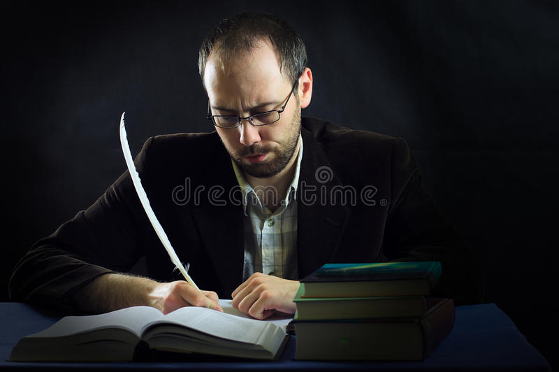 Self portrait of writer stock photo