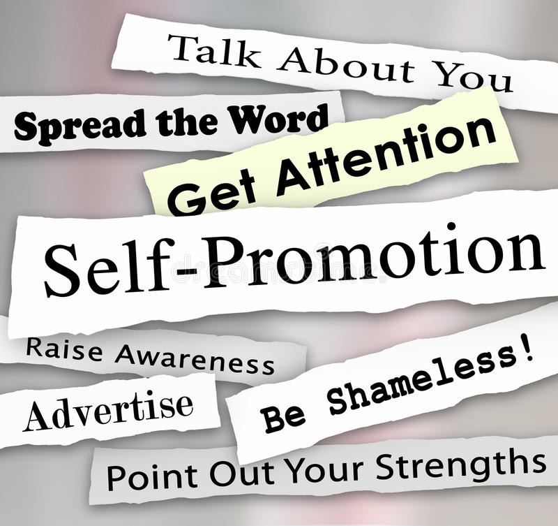 Self-Promotion Headlines Marketing Publicity Attention. Self-Promotion words and phrases in torn or ripped newspaper headlines to illustrate getting marketing royalty free illustration