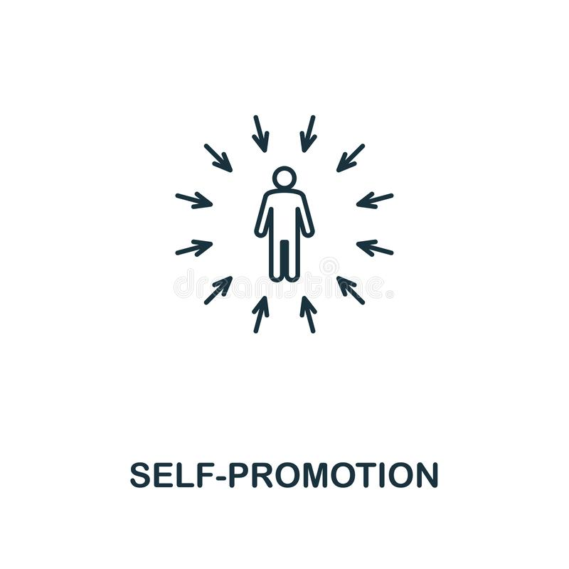 Self-Promotion icon. Thin outline creativeSelf-Promotion design from soft skills collection. Web design, apps, software. And print usage stock images