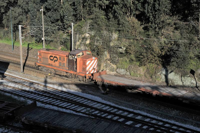 Multimodal transport by train in Portugal stock images