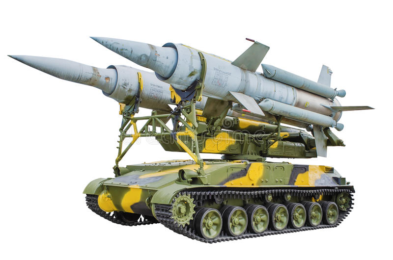 Self-propelled launcher anti-aircraft missile system krug. Self-propelled launcher anti-aircraft missile system KS-41. isolated on white background royalty free stock photo