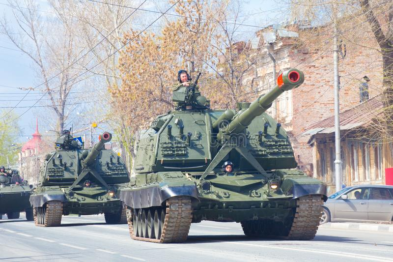Self-propelled 152 mm howitzer Msta-S NATO name - farm M1990 on the city street. Russia, Samara, May 2018: Self-propelled 152 mm howitzer Msta-S NATO name - farm royalty free stock images