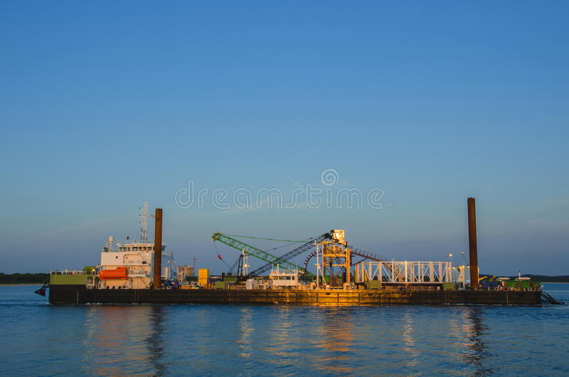 SELF - PROPELLED SHIP WORK UNDER WATER stock image