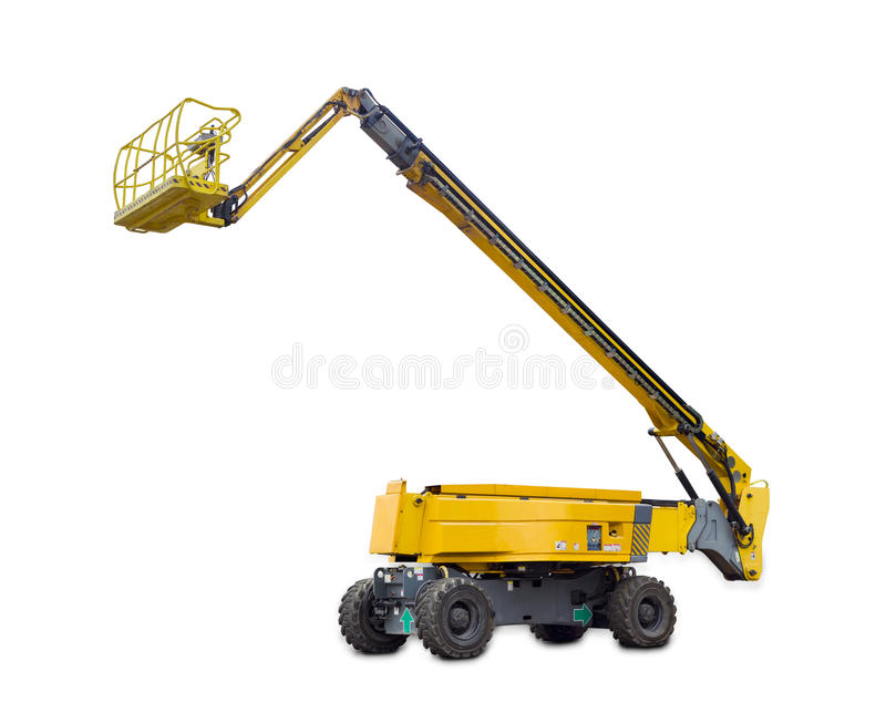 Self propelled wheeled boom lift with telescoping boom and basket. Self propelled wheeled hydraulic articulated boom lift with telescoping boom and basket on a royalty free stock image