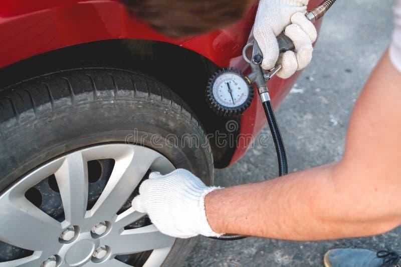 Self Pumping car tires stock photography