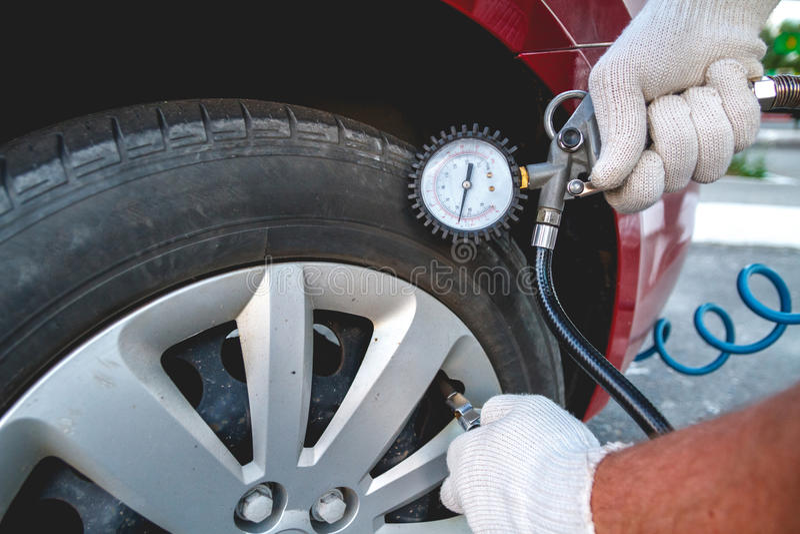 Self Pumping car tires royalty free stock image