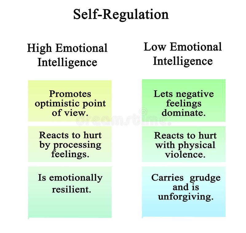 Self-Regulation of high and low EQ stock illustration