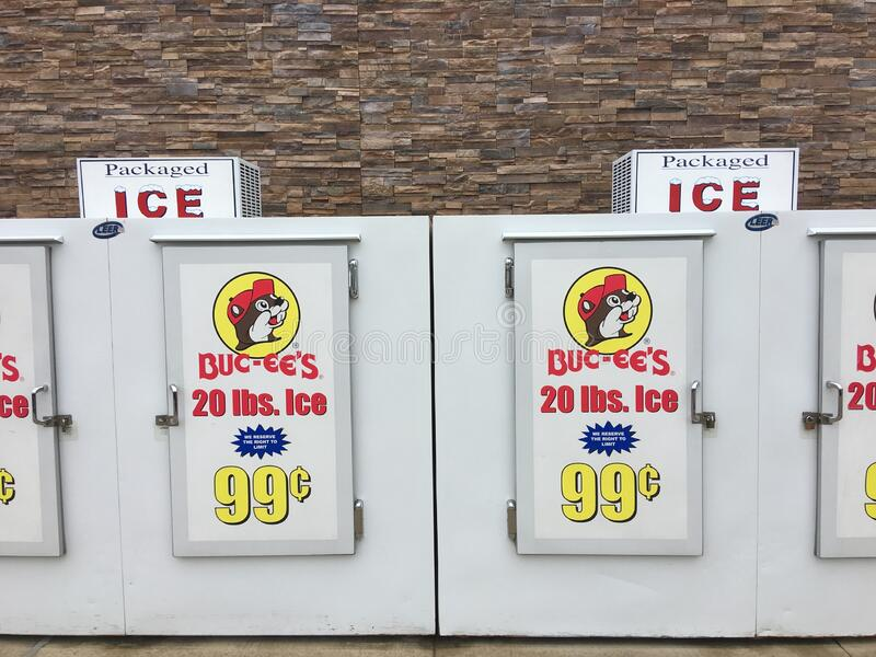 Self-Serve Ice Coolers at Buc-ee`s Convenience Store royalty free stock images