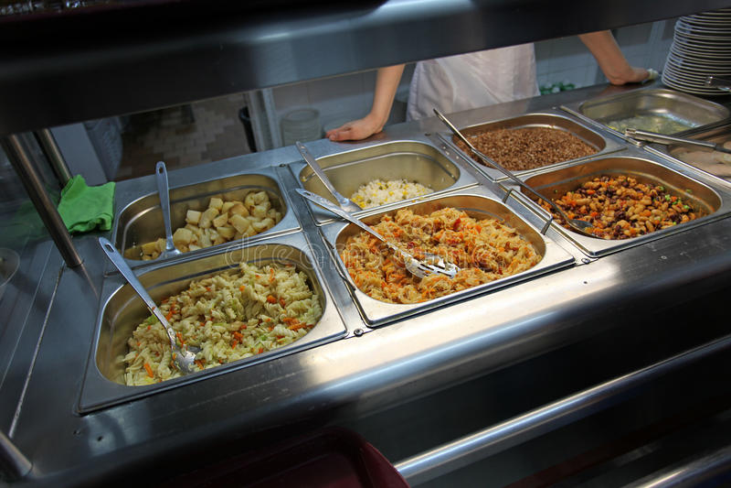 Self service canteen stock photography