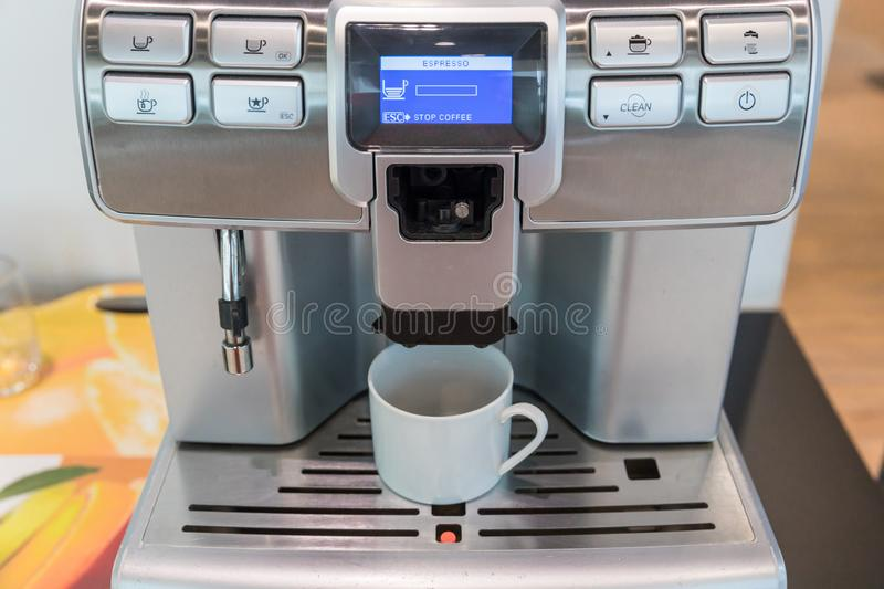Self-service coffee machines offer consistent, quality coffee in hotel, sport club or office. royalty free stock images