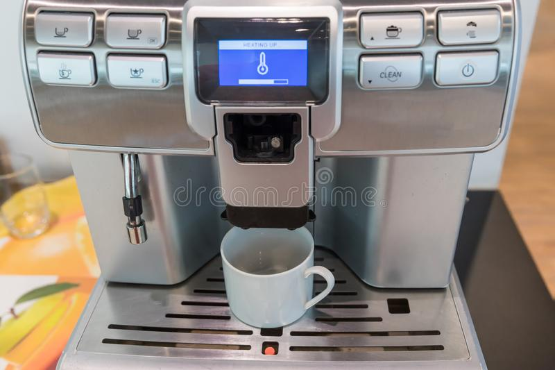Self-service coffee machines offer consistent, quality coffee in hotel, sport club or office. stock image