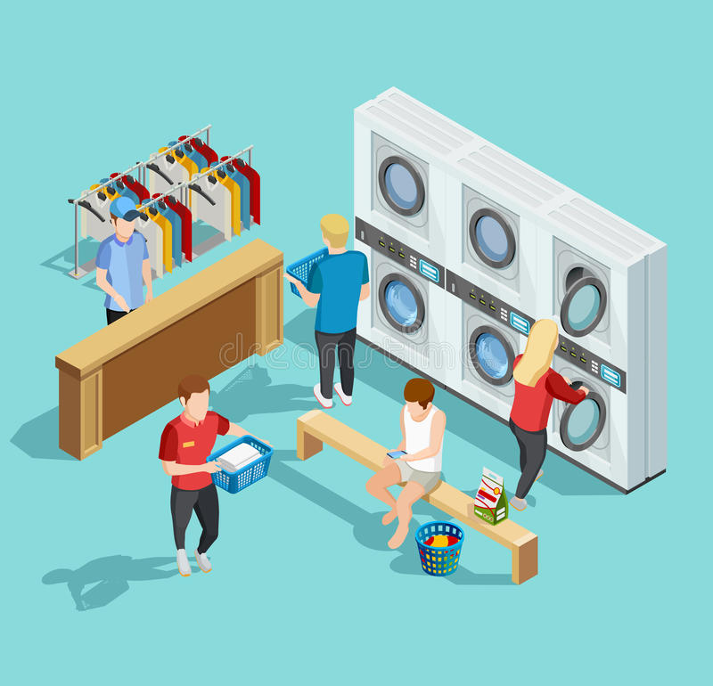 Self Service Laundry Facility Isometric Poster. Self service coin public laundry facility interior with customers washing and drying clothes isometric poster vector illustration