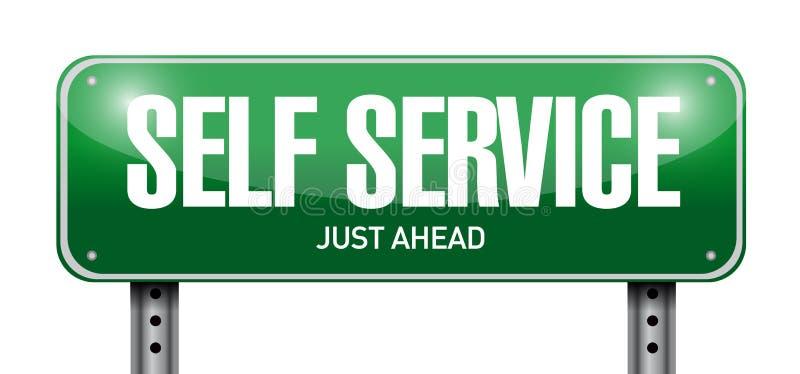 Self service road sign illustration design. Over a white background royalty free illustration